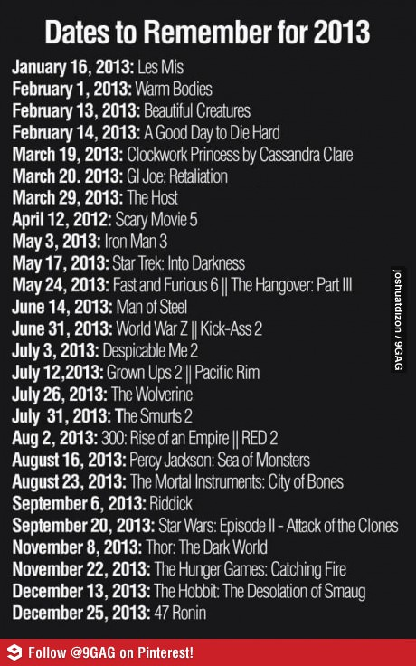 Upcoming movies I didnt' want to misplace